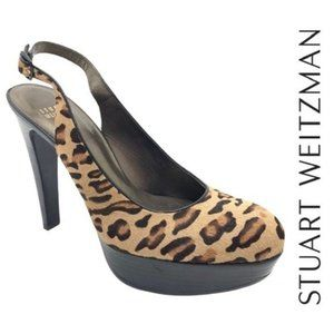 Stuart Weitzman Leopard Slingback Platform Heels 7